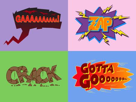 onomatopoeia: Set of сomic cartoon stickers and speech bubble Ga, Zap, Crack, Gotta Goo