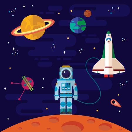 cartoon astronaut: Vector flat space elements with spaceship and planets.