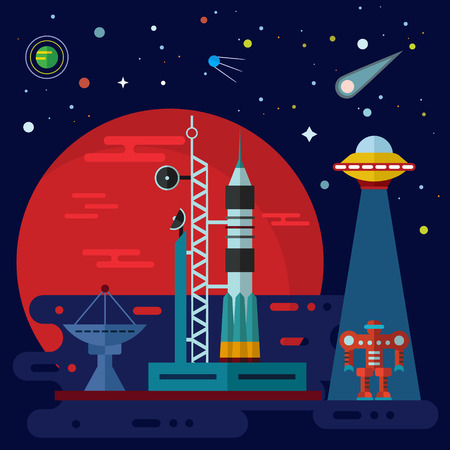 teleportation: Vector flat space elements with rocket launch, space station, planets, ufo and robot