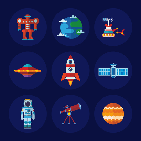 lunar rover: Set of vector space icons in flat design style
