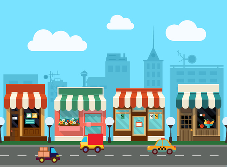 City street with urban buildings and shops in flat style. Seamless pattern Illustration