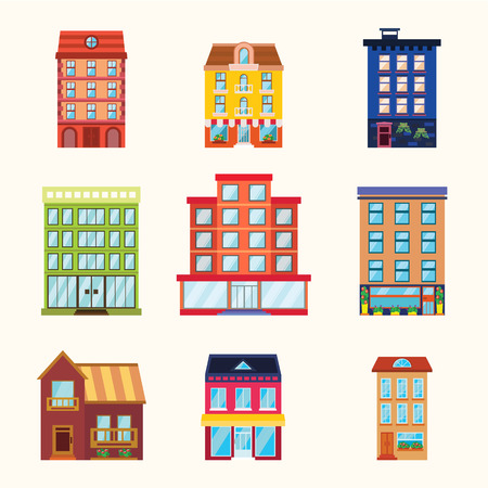 Set of vector buildings and houses in flat style