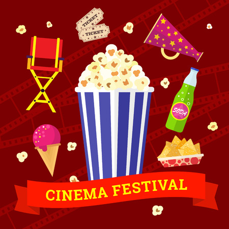 Vector flat movie elements with popcorn, drink, snacks and ice cream. Concept cinema festival.