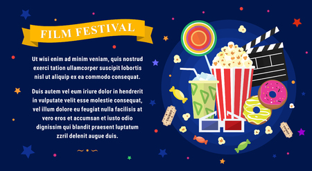 film festival: Vector flat movie elements with popcorn, candies, beverage and donuts. Concept film festival.