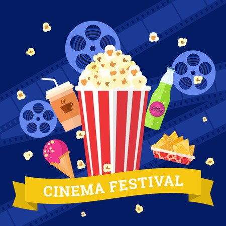 Vector flat movie elements with popcorn, drink, snacks and ice cream. Concept cinema.