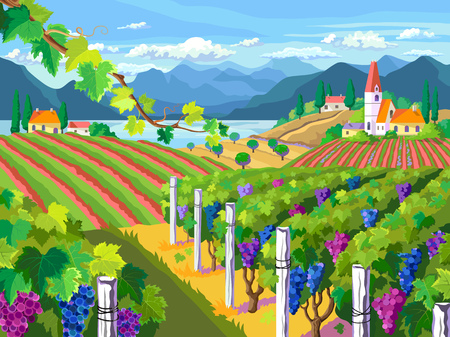 Rural landscape icon. Illustration
