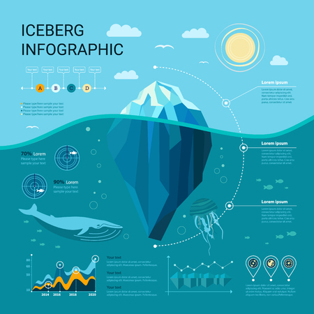 Iceberg infographics  with ice, water, sea,graphics and templates elements. Underwater infographics Çizim