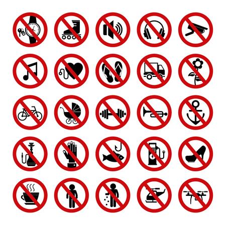 Conjunto de iconos de prohibición rojos. Señales prohibidas. Ilustración de vector.