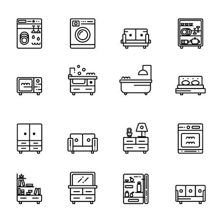 Vector furniture linear icons. Outline symbols collection.
