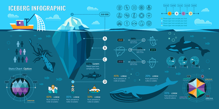 Iceberg and underwater infographics. Vector flat elements with polygonal iceberg, graphics and icons. Illustration