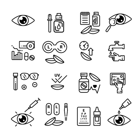 Set of vector contact lens and ophtalmology linear icons. Isolated outline 