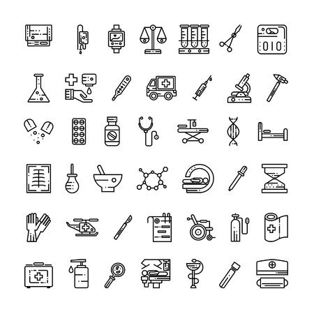 Medical equipment and thin online icon set. Isolated symbols on  white background Illustration