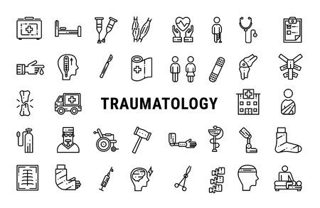 Colección de iconos de línea de medicina de traumatología. Ilustración vectorial en línea