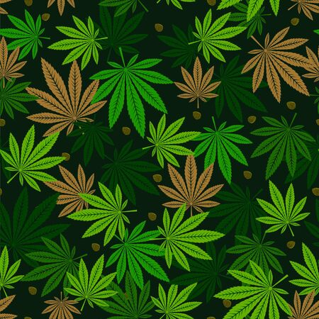 Cannabis seamless pattern with leaves and seeds. Vector illustration