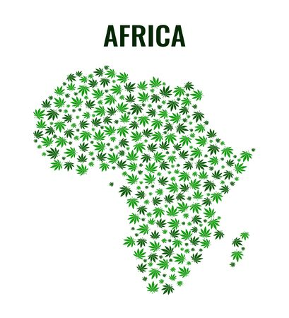 Vector illustration of a map of Africa made of cannabis leaves. Flat style marijuana foliage.
