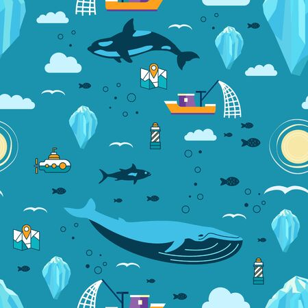 Seamless pattern with iceberg,mammals, fish,map, lighthouse, sun, 
