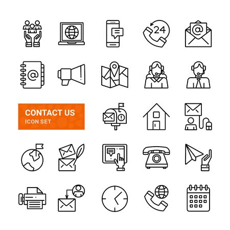 Contact us set icons on white Ilustracja