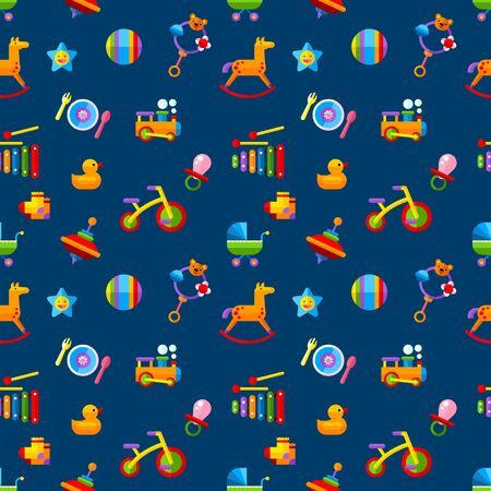 Baby seamless pattern.Included the vector icons as train, bike, ball, whirligig and pram.Flat vector illustration