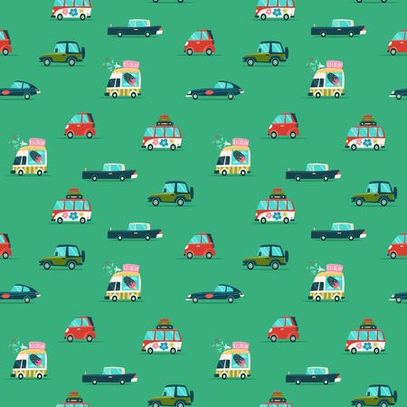 Vector car seamless pattern in flat style. Wrapping paper pattern.