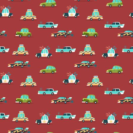 Color car seamless pattern. Flat Vector illustration with police, taxi and retro car. Ilustracja