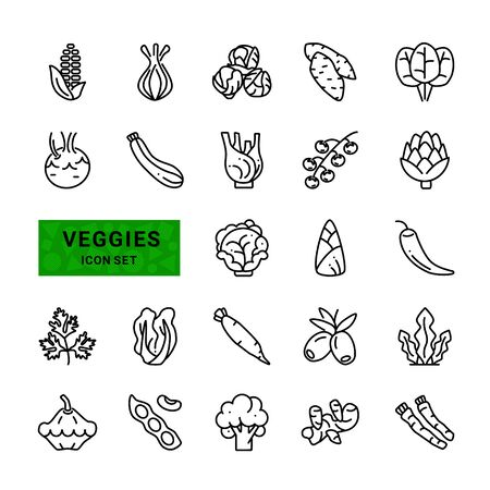 Vegetarian food. Vegetable, veggies-minimal outline thin set. Collection includes onions, corn, olives, chili, zucchini, artichoke. Vector line icon.