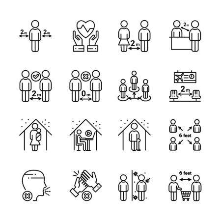 Social distancing outline icon set. Include such icons as stay home, protection, safety distance and more.