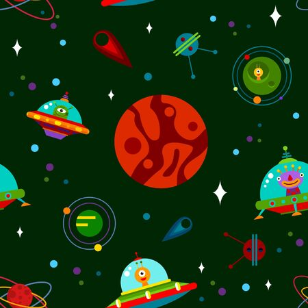 Vector seamless pattern with rockets, planets, stars, comets and UFO. Vector illustration.