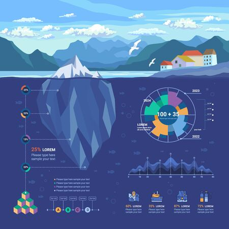 Iceberg Floating in Fjord. Infographic Underwater and Flat Elements with Polygonal Iceberg, Graphics, Icons and more.