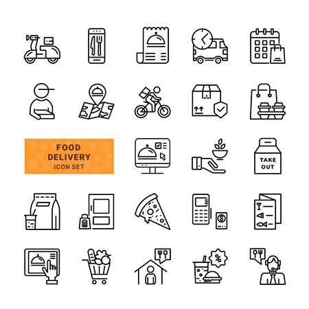 Set of Food Delivery. Includes such icons as Delivery Man, Fast Food, Contactless Delivery, Order Tracking. Simple Vector Illustration Line Icons.
