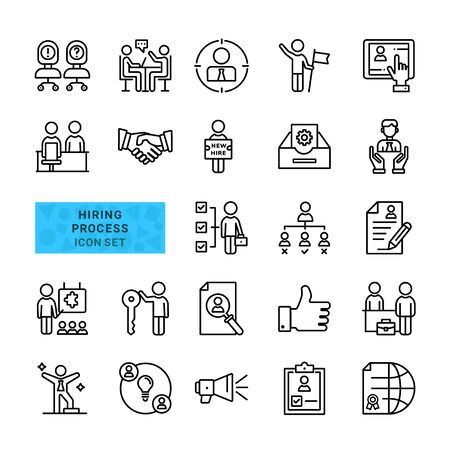 Set of Icons About Hiring Process. Include Outline Icons Human Resources, Handshake, Training, Business Management. vector Illustration. Ilustracja