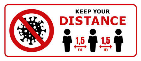 Keep Your Distance. Keep Safe Distance of 1.5 m. Quarantine Actions, Risk of Coronavirus COVID-19 Infection. Vector Illustration