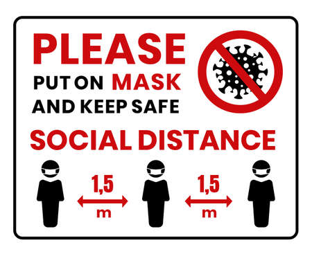 Put on a face mask before entrance. Face protection. Risk of coronavirus COVID-19 infection. Illustration, vector.