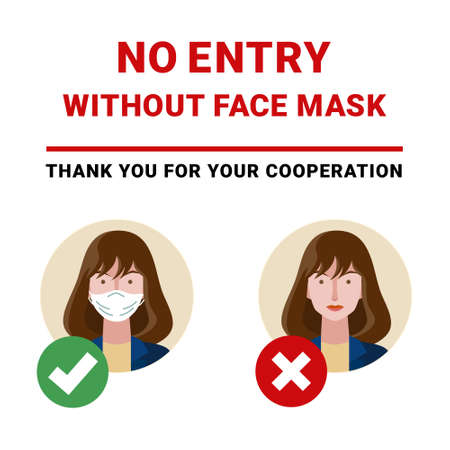 Do not enter without a face mask. Stop coronavirus (COVID-19). Vector.