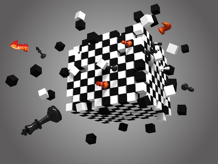 chessmen: 3D rendered exploded chess cube on gray background Stock Photo