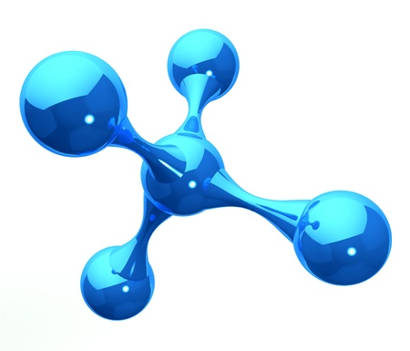 atomic: blue reflective molecular structure on white Stock Photo