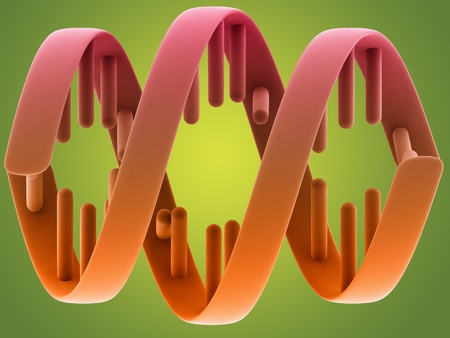 DNA structure on green background photo