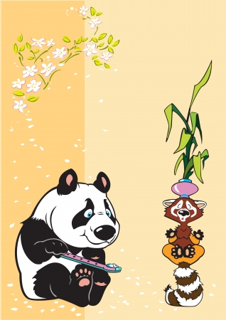 peaceful panda with fife and raccoon in meditation Stock Vector - 14053439
