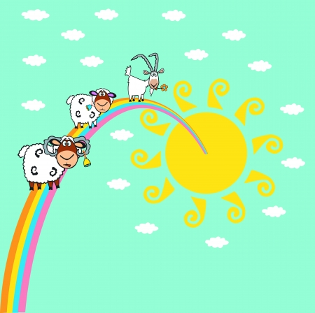 animal ram: goad and sheep in the sky with rainbow and sun,peaceful picture Illustration