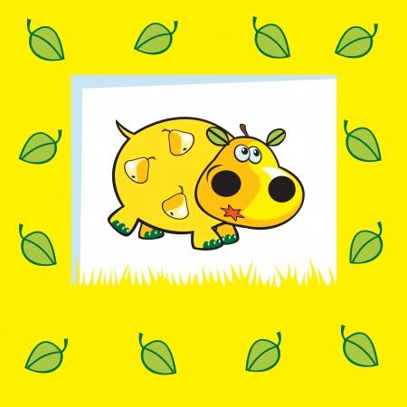 frutoso: hipopótamo frutados bonitos no fundo amarelo Ilustração