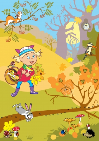 little girl in autumn forest holding basket with mushrooms Vector
