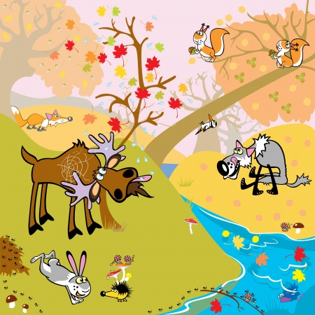 playful autumnal children illustration with forest animals Vector