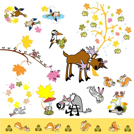 set of playful autumn pictures with wild animals Vector