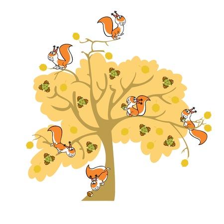autumn nut tree with squirrel, children illustration on white background Vector