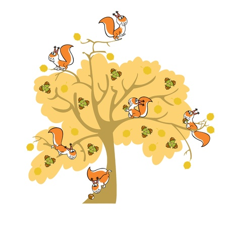 autumn nut tree with squirrel, children illustration on white background