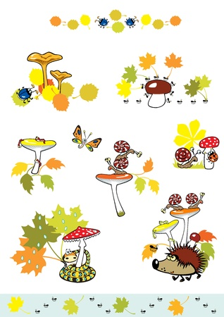 edible mushroom: set of mushrooms with autumn leaves and little forest creature,children illustration isolated on white background