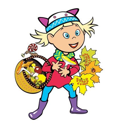 edible mushroom: little girl holding basket with mushrooms, children illustration