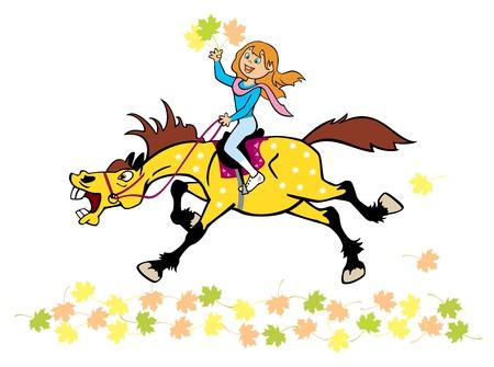 niña montar a caballo y la celebración de las hojas de otoño, ilustración infantil aisladas sobre fondo blanco Ilustración de vector