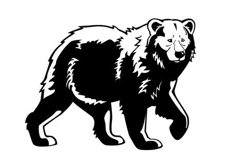 björn svart vit isolerade på vit bakgrund