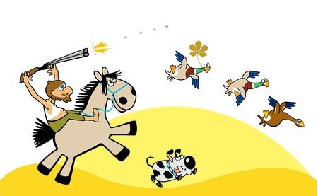 imagen de dibujos animados con los cazadores de caza patos silvestres, ilustración, niños Foto de archivo - 14676936