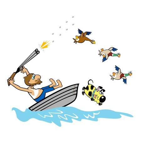 wildlife shooting: boating aged man hunting wild ducks,cartoon illustration on white background Illustration